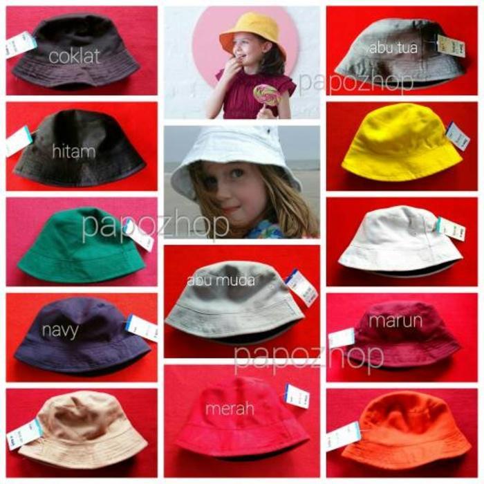 Topi bucket hat anak polos bolak balik 2 warna warni tebal premium Terlaris  di Lazada 7c0a257de4