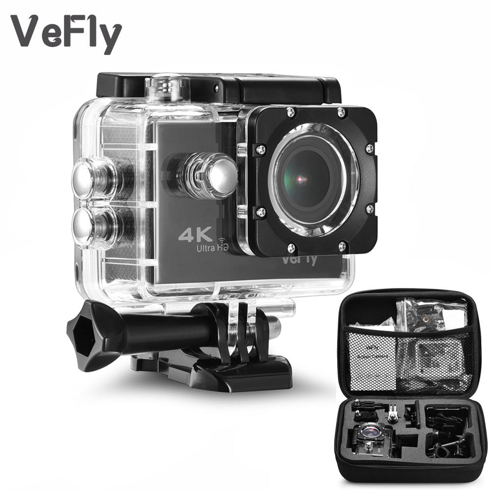 VeFly 2.0 inch Screen Wifi 1080P 4K Waterproof Sports Action Camera, black portable 16MP Sport Cam Go Pro Accessories case set(Black - Option2)