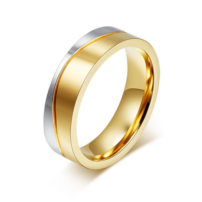 Vnox Cincin Kawin untuk Wanita/Pria Gold-Warna Elegan Pecinta Janji Perhiasan Personalisasi Mengukir