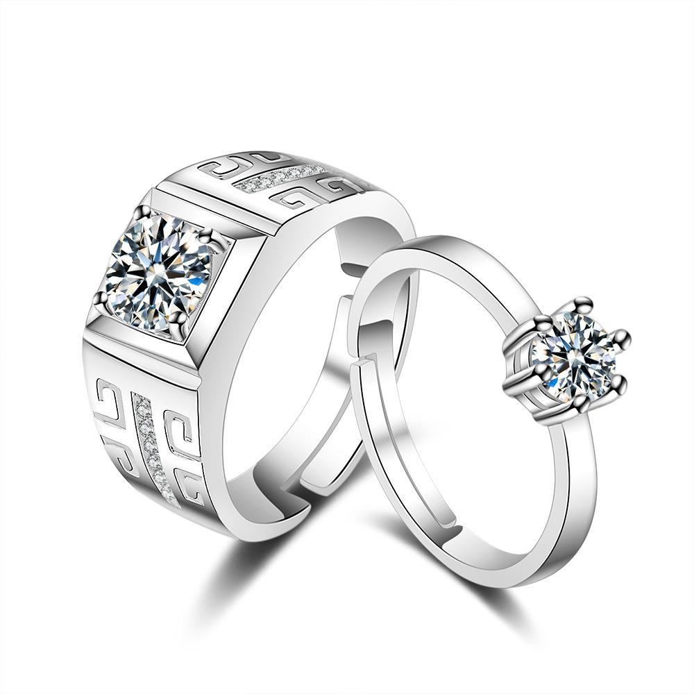 2 Lembar Indonesia Ngumpul Di Sini Cincin CZ Hias Platinum Berlapis Cincin Pasangan untuk Pernikahan Pertunangan Hadiah Perak, Internasional-Internasional