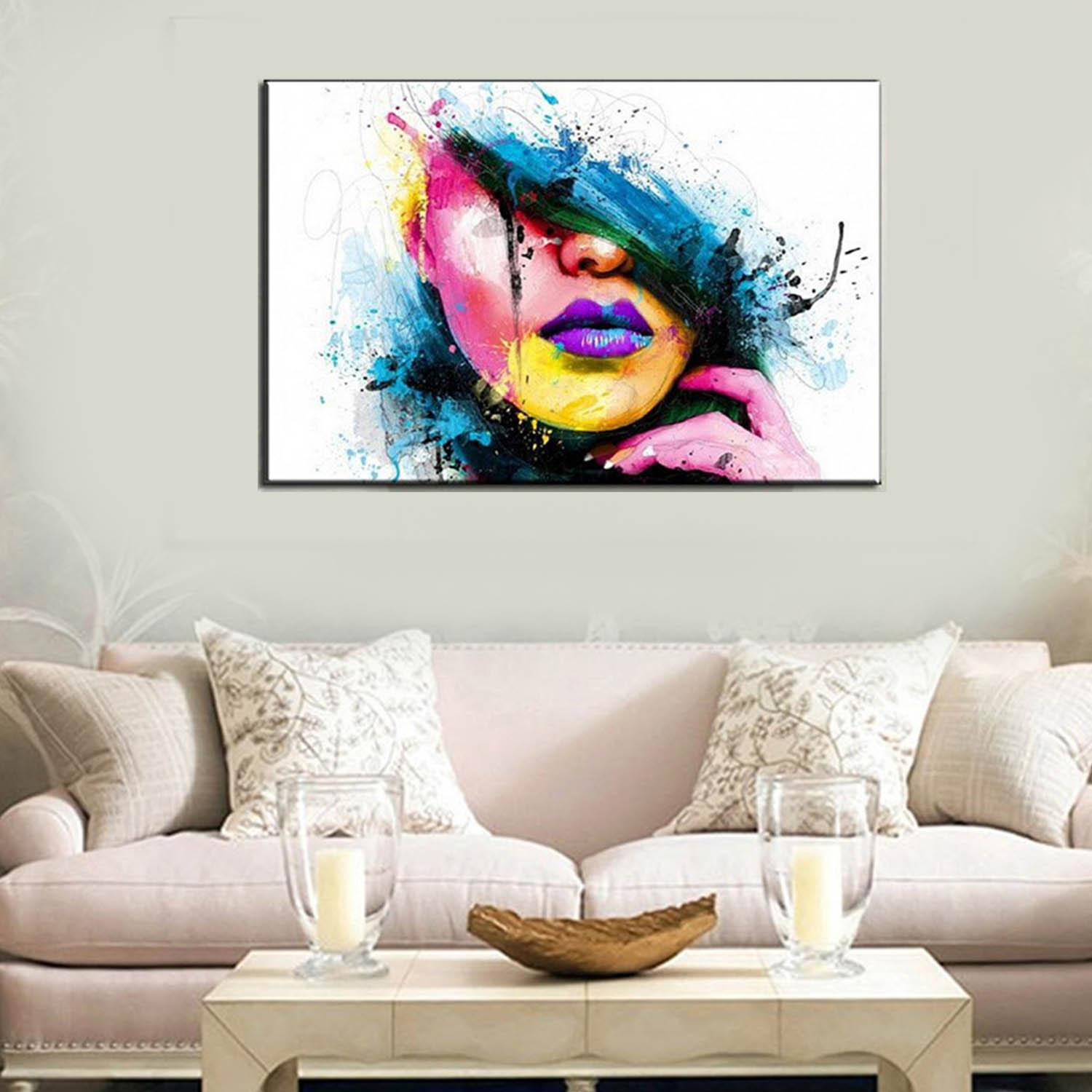 Abstract Art Style Lady Face Printed Canvas Decoration Wall Art for Home Living Room Bedroom Office Hotel Pub - intl