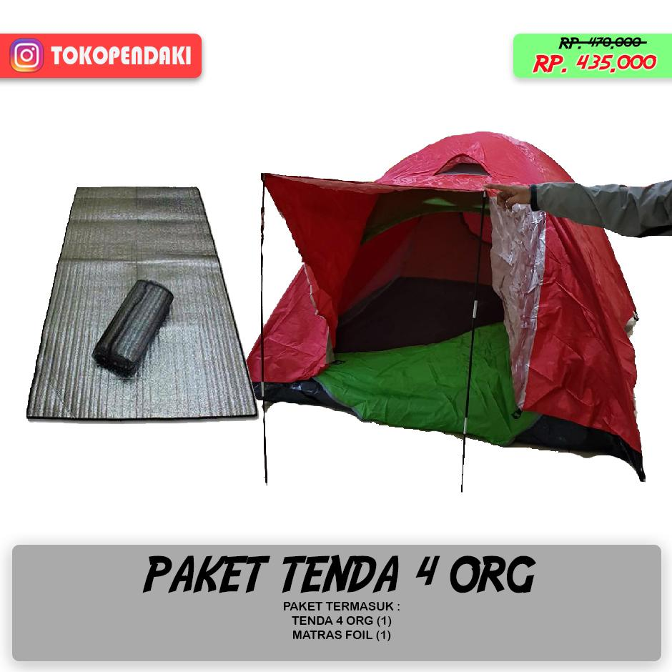 Paket Camping Tenda 4 Orang Waterproof - Matras Foil Alumunium Hangat Terlaris