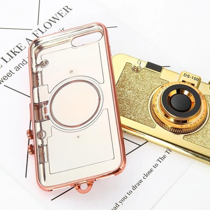 Case iPhone 7 / 8 Korean 3D Retro Camera Soft Stand Holder Mirror Case Back Case Back Cover Flip Case Flip Cover Casing Hp Terbaru 2018