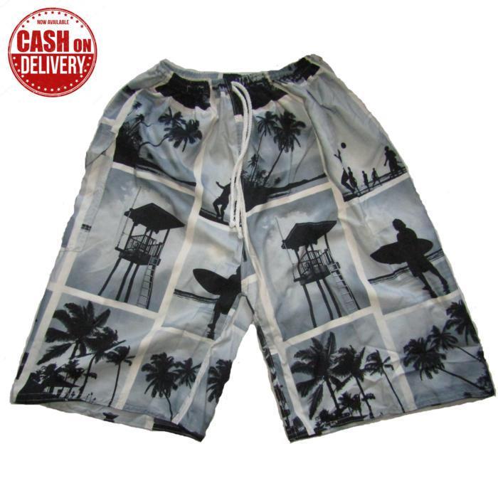 Celana pendek pantai motif loreng