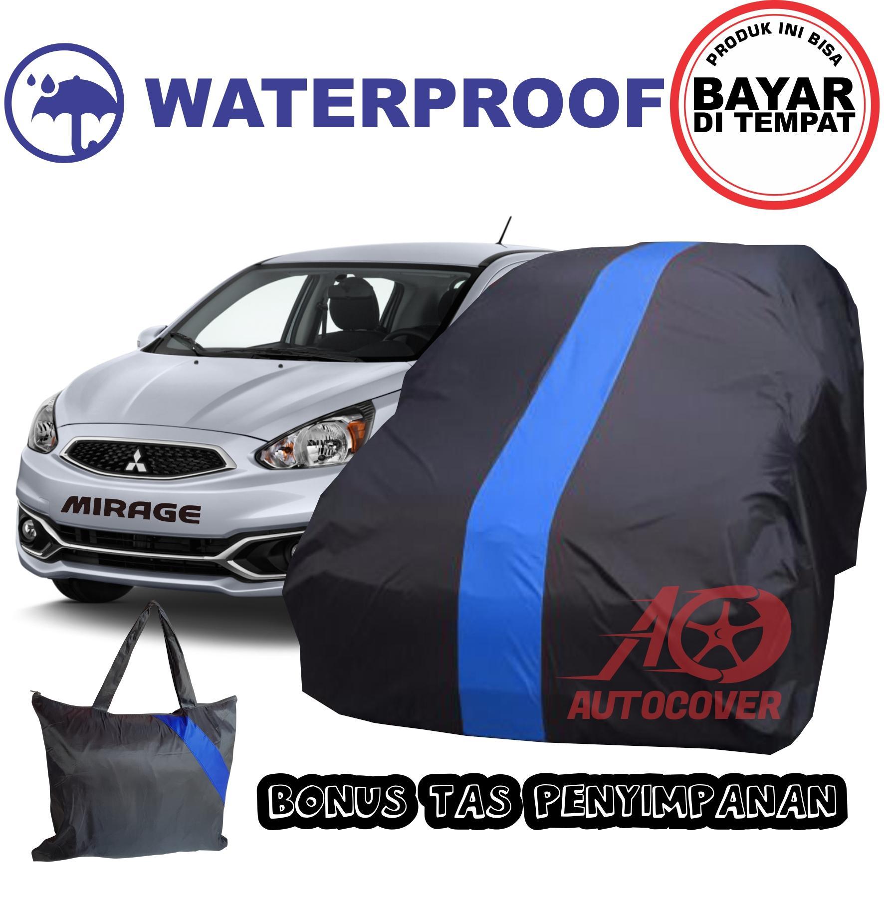 COD - Sarung Bodi Mobil Mitsubishi MIRAGE Anti Air List BIRU Auto Cover Body Waterproof Selimut Pen