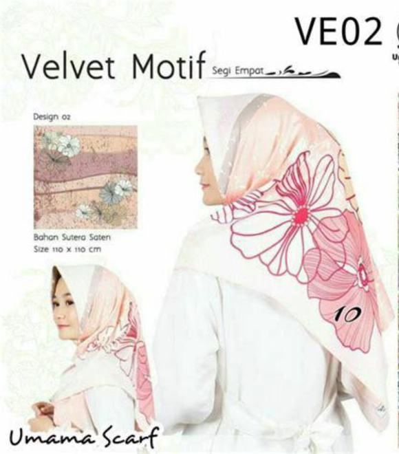 Hijab Square Kerudung Segiempat Jilbab Satin Velvet Motif Bunga Umama Series Satin Motif Putih - tukiyem13