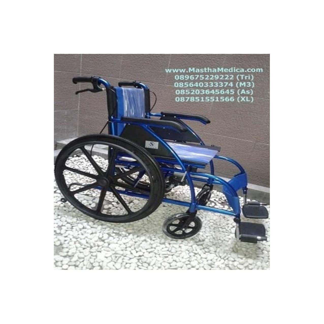 Kursi Roda Wheel Chair KY869LBJ Aluminium Biru Velg Racing Sella Murah