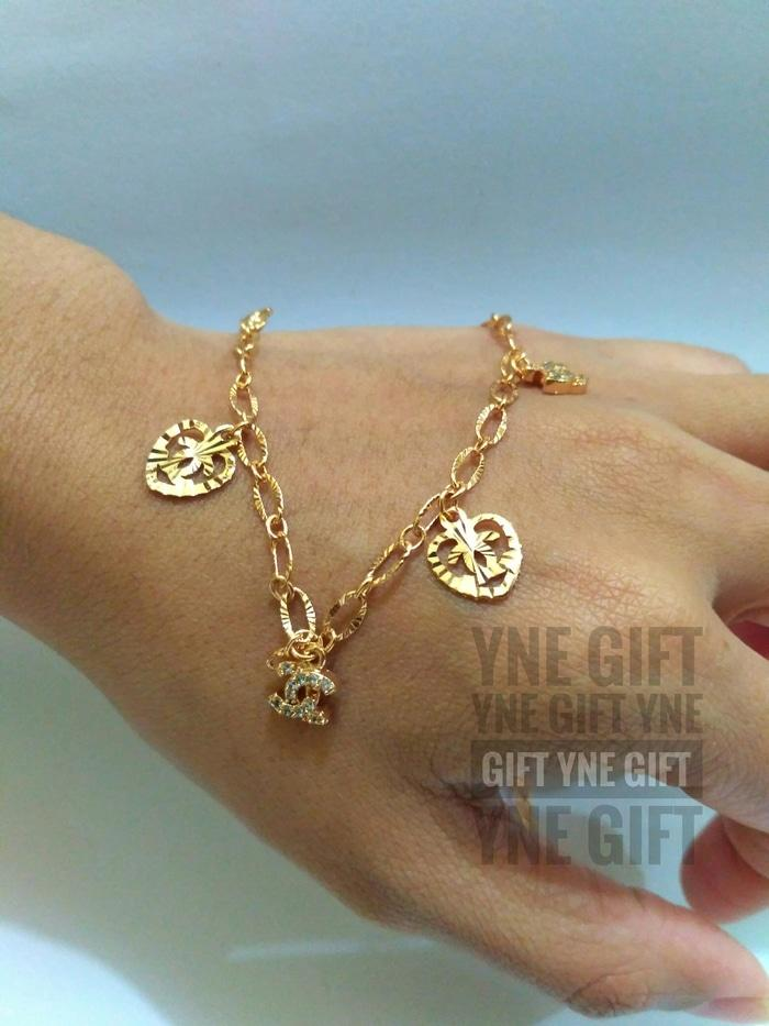 Perhiasan Gelang Kaki Chanel- Gelang Sepuh Emas 18K- Gelang Imitasi