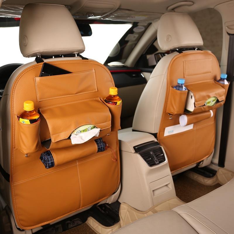 HW Car Seat Organizer Tas Belakang Jok Mobil Multifungsi Premium Quality Leather / Kulit