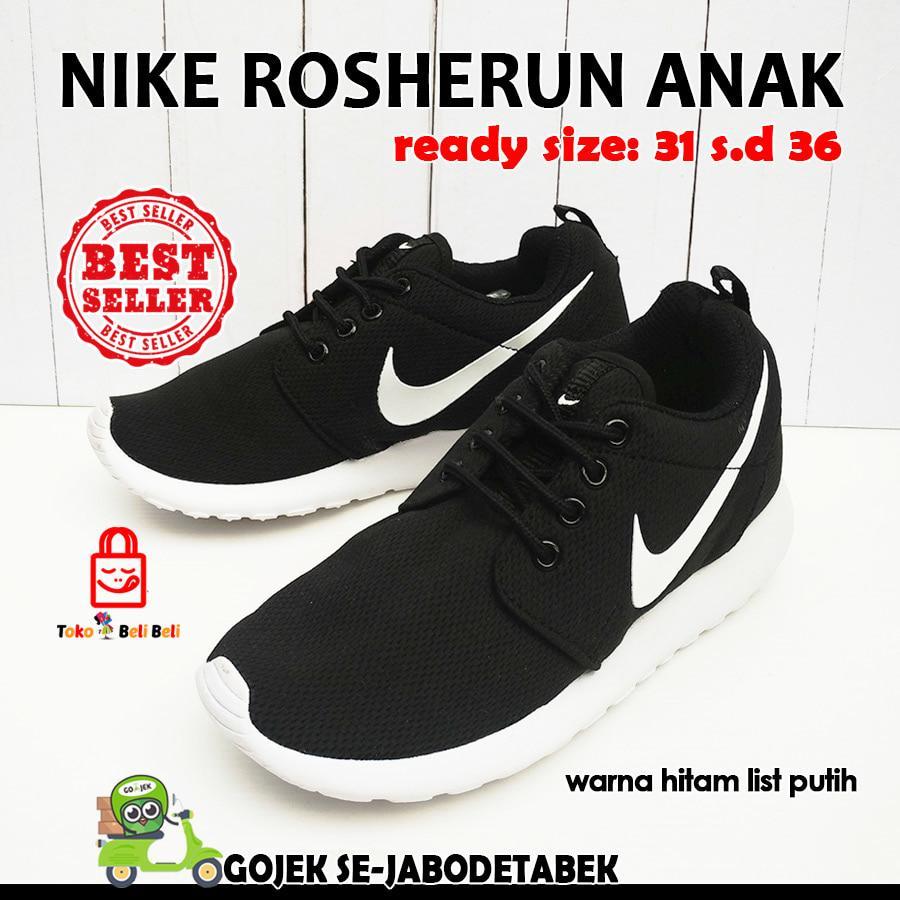 Sepatu Nike Cortez Hitam List Putih Pria Terbaru8 Relentless6 Rosherun Anak Sneakers
