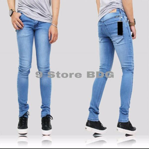 celana jeans stretch meral elastis pria cowo biru muda bioblit