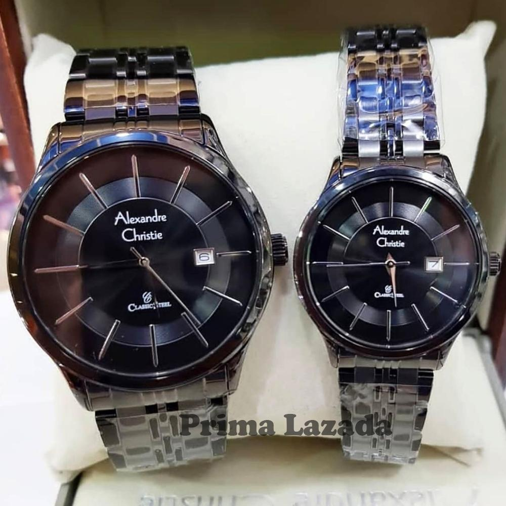 Alexandre Christie AC8348MD Original Jam Tangan Couple Stainless Steel Hitam