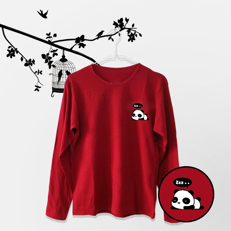 ELLIPSES.INC Tumblr Tee / T-Shirt / Kaos Wanita Panda - Maroon Lengan Panjang