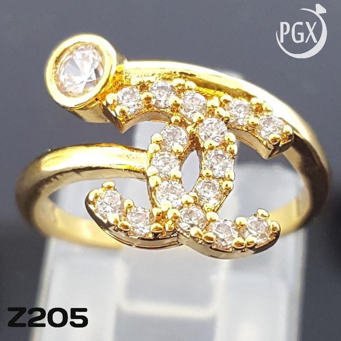 Z205 Cincin Branded Chanel (Set Perhiasan Imitasi Xuping Lapis Emas)