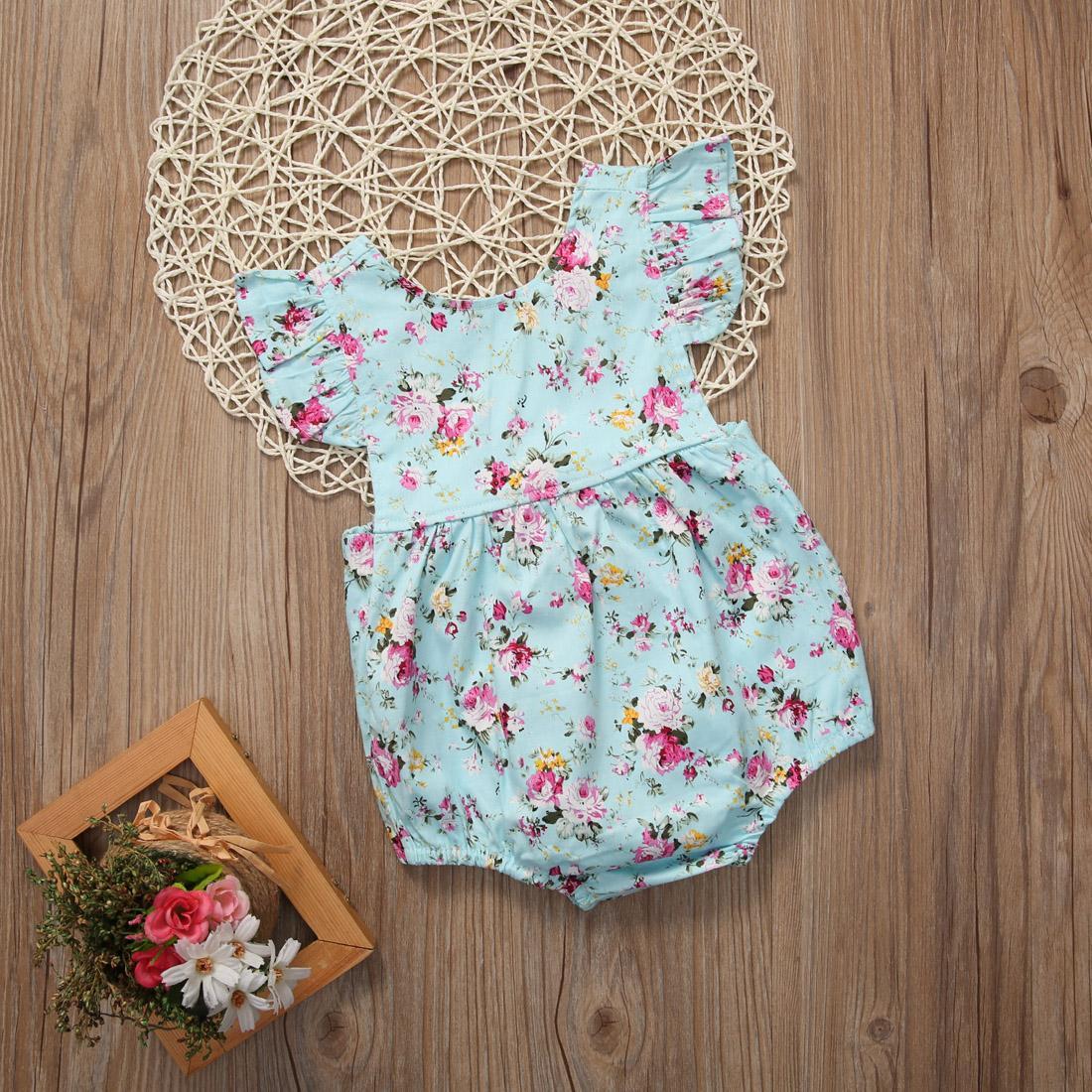 Baru Satu Kepingan Bayi Perempuan Bunga Musim Panas Baju Ruffled Jumpsuit Playsuit Bayi-Internasional ...