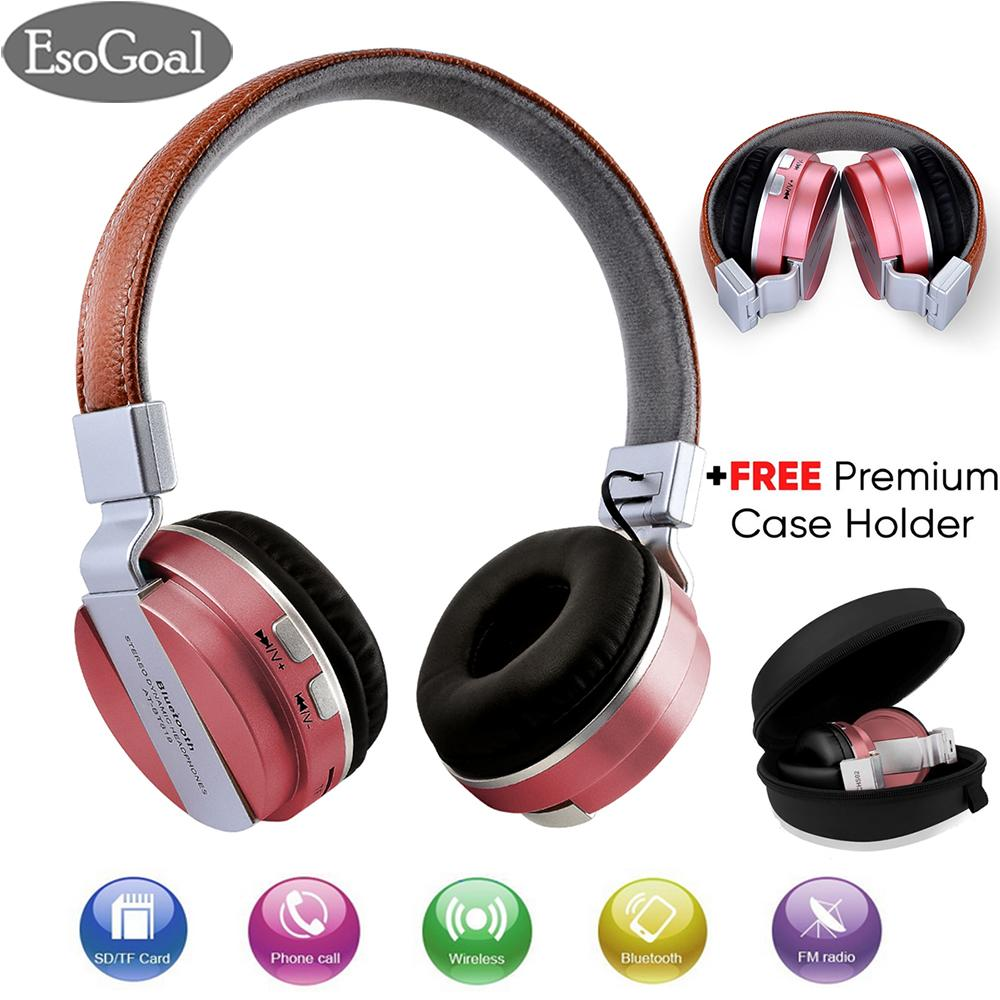 EsoGoal Wireless Bluetooth Headphone Foldable Leather Sport Headset With FM Radio AUX TF Card-MP3 and Premium Case Holder