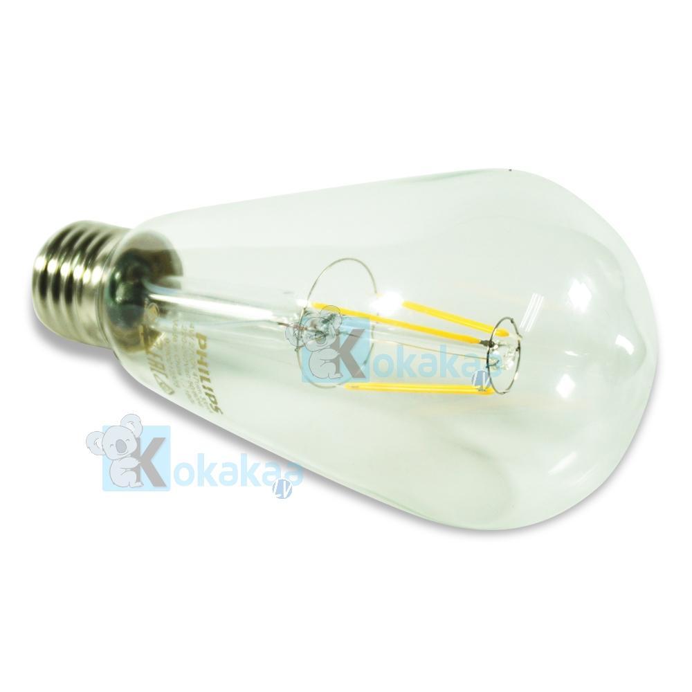 Gambar Produk Rinci Philips Lampu LED Tinggi 4 Watt ST-64 E27 Dimmable Classic Design Hemat Energi Lampu Bohlam Cahaya Kuning Terkini