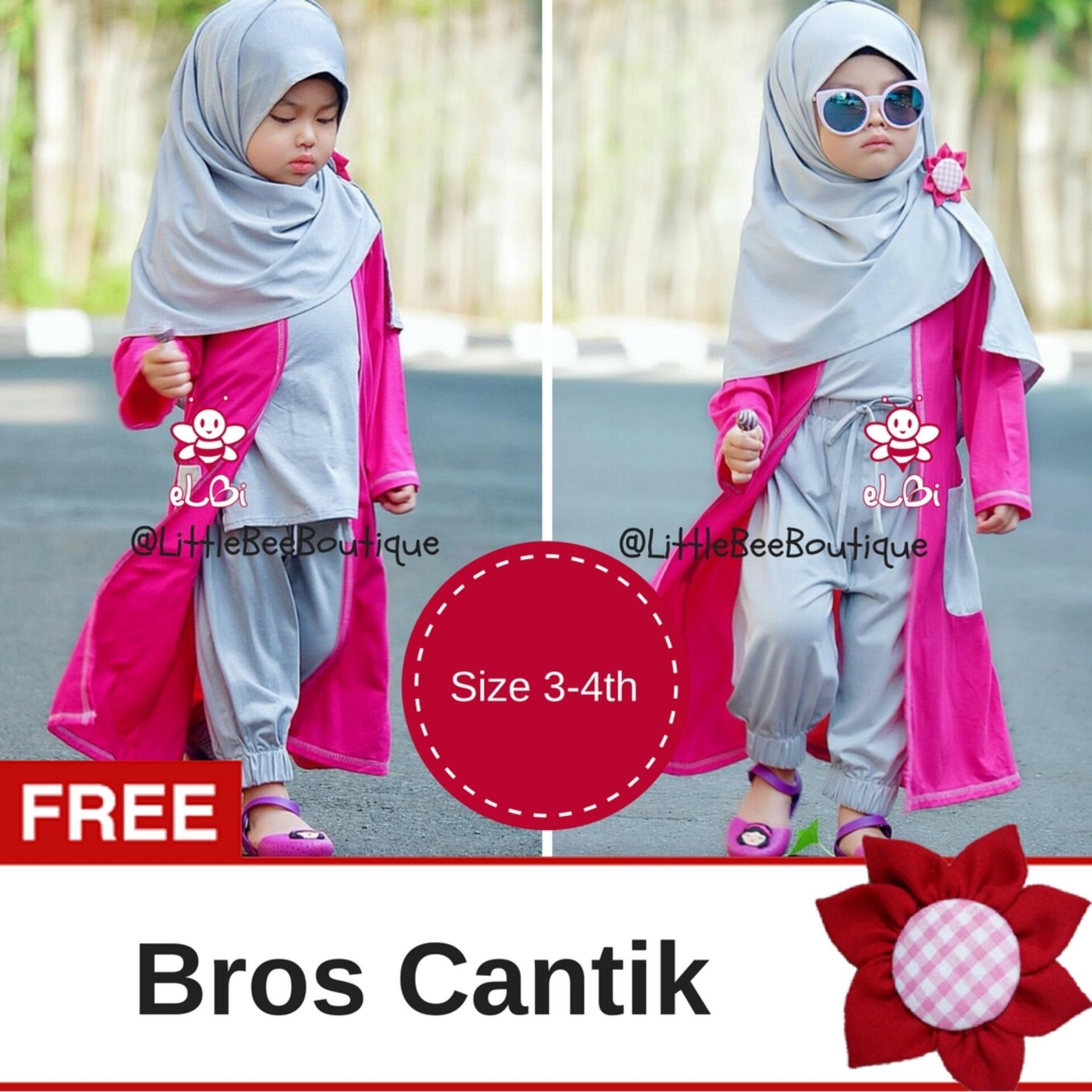 eLBi - Gisela Set Baju Muslim Anak Balita / Baju Bayi Muslim / Baju Anak Perempuan by Little Bee boutique