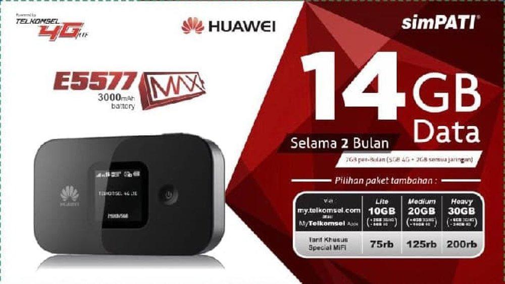 MODEM MIFI E5577 MAX 3000MAh UNLOCK 4G LTE FREE TELKOMSEL 14GB
