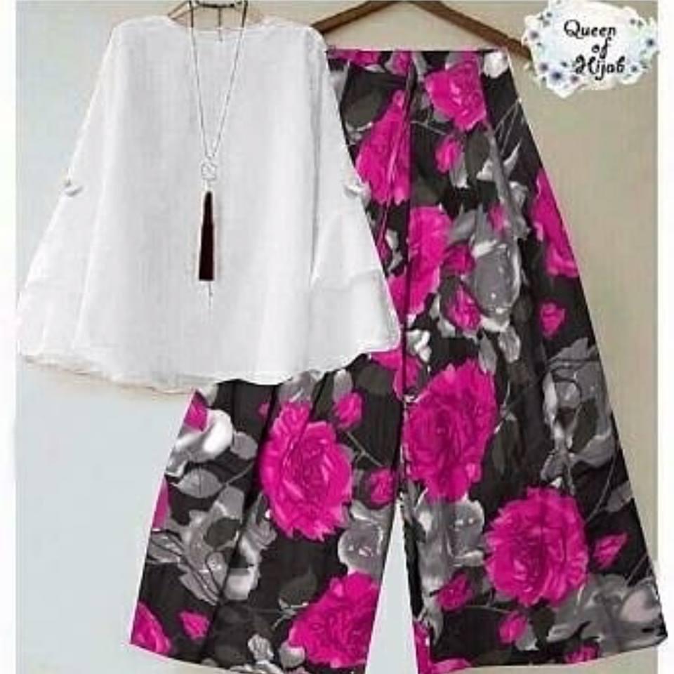 Baju Setelan Wanita Kulot Flowers Ungu Blouse Putih