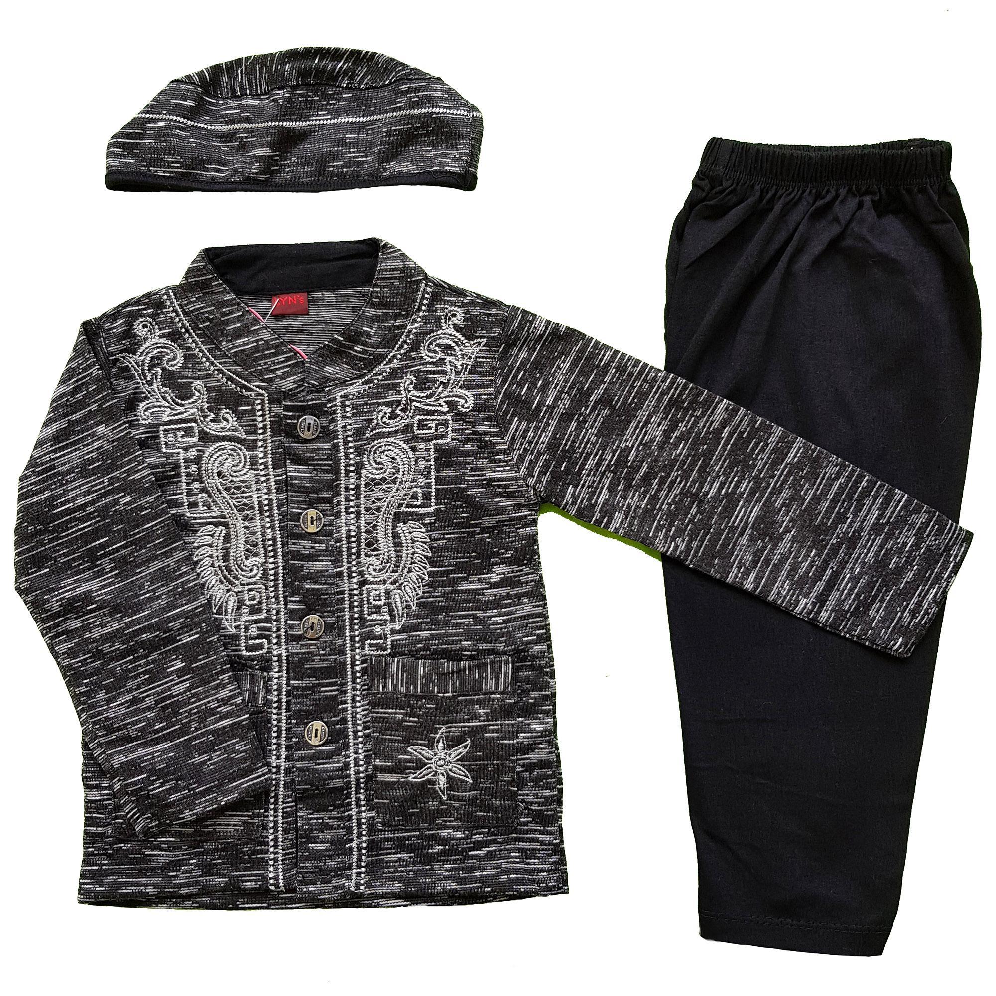 Baju Muslim Koko (0-10 Bulan) Anak Bayi Laki-Laki Setelan Set Peci LY2