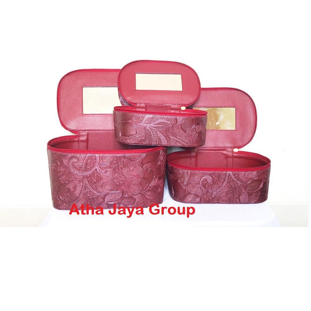 Traveller Make Up Pouch - Kotak Portable Tempat Kosmetik (Motif Batik) - Tas Make Up Portable ( Buy 1 Get 2 )