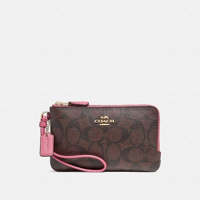 DOMPET COACH ORIGINAL - COACH SMALL WRISTLET DOUBLE ZIP BROWN MAGENTA