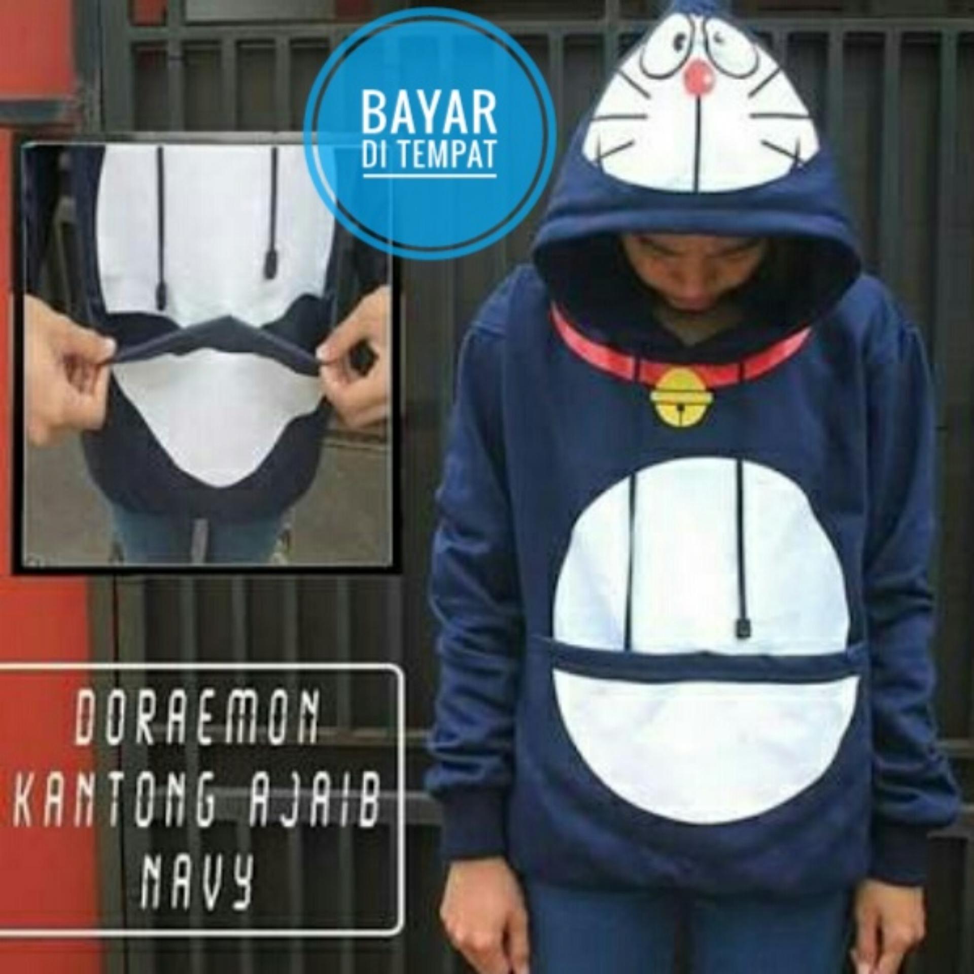 Jaket Doraemon Kantong Ajaib Navy Hoodie Zipper
