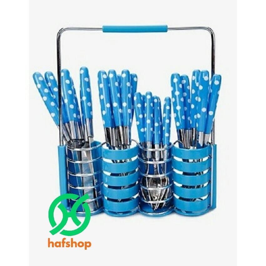 Hafshop Cultery Blue.jpg. Hafshop 24 pcs Stainless Steel Cutlery Set dengan Motif Polkadot ...