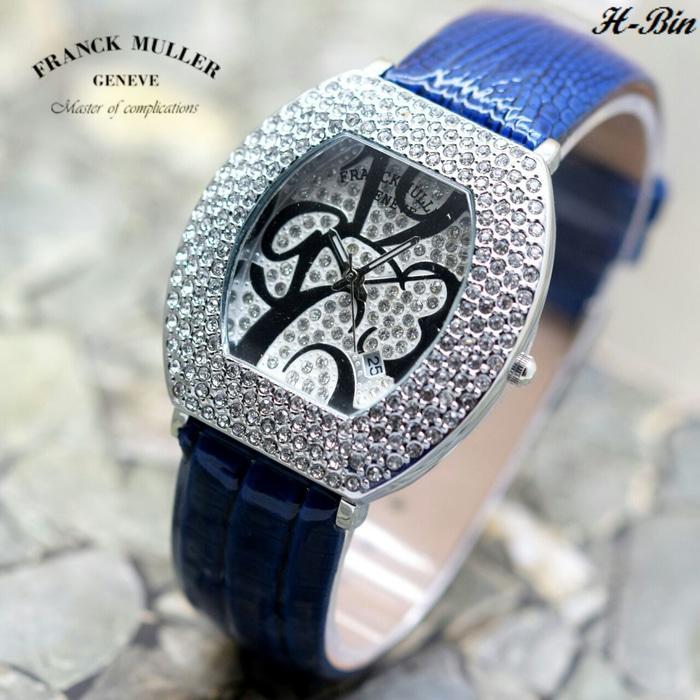 Jam Tangan Wanita Franck Muller Oval Angka Body Silver Kulit