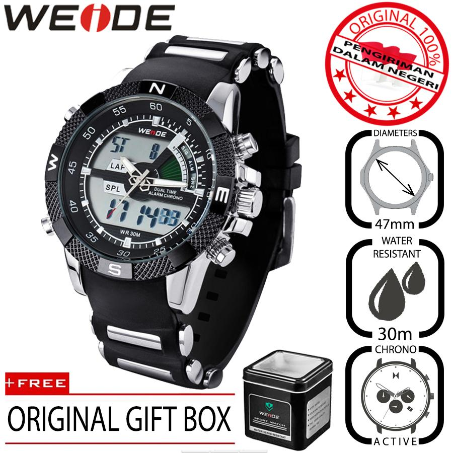 Weide 1104 Jam Tangan Pria Original Bisnis Sport 47mm Anti Air 30M Chrono Stopwatch - Premium Watches
