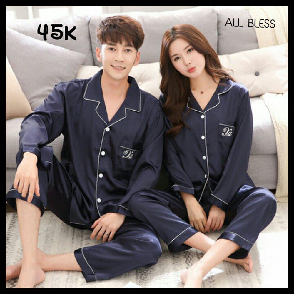 Baju tidur couple pasangan KOREAN STYLE bordiran piyama setelan buka kancing menyusui seserahan