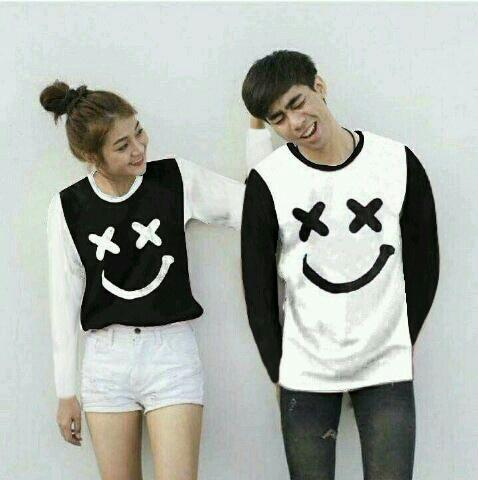 Baju Wanita Shop Kaos Couple Lengan Panjang XOXO / Long Tshirt Polos  / Sweater Couple Marshmellow / Sweater Polos / Kaos Pria Wanita BG (XOXO) - Hitam PAnjang