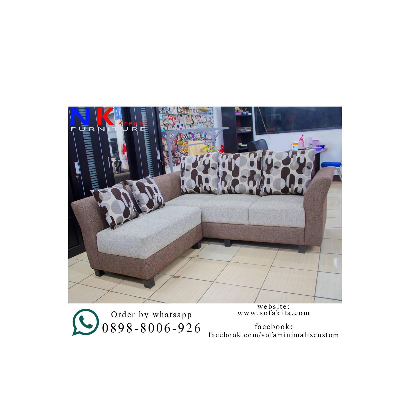 Sofa Tamu L minimalis murah, desain mewah ( kursi L Tangan Minang )