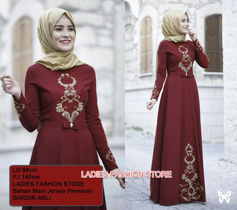 LF Dress Muslim Gamis Wanita / Dress Terusan Maxi / Gamis Lebaran / Setelan Syari Syar'i Elegant / Gaun Busana Muslim Baju / Baju Gamis Wanita / Setelan Wanita Muslimah /Hijab Fashion / Baju Baru Lebaran Murah Laris / TANPA PASHMINA (venara) SS - Marun