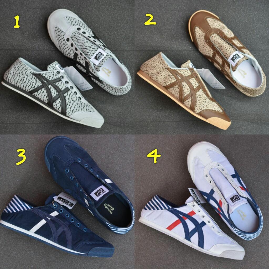 sepatu asics onitsuka tiger paraty men sneakers running slop tanpa tali terbaru