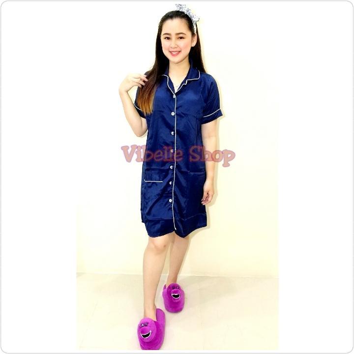 SATINDST - NAVY - Satin SilkyVelvet Vibelle shop grosir baju tidur piyama fashion daster wanita baju murah