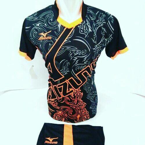 [ BEST SELLER MZ 16] Baju Volly Jersey Olahraga Futsal Kaos Bola Setelan Voli Mizuno Hitam Orange