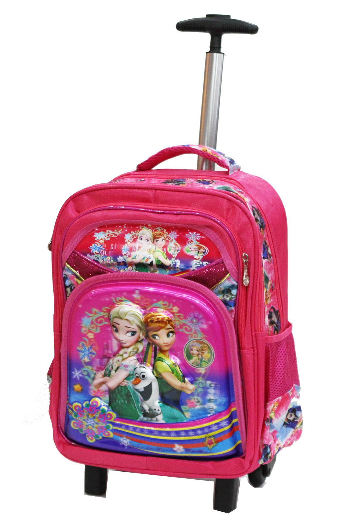 ... Onlan Tas Trolley SD Gagang Stainless Import Dan Kotak Pensil Karakter Anak Perempuan - Pink -