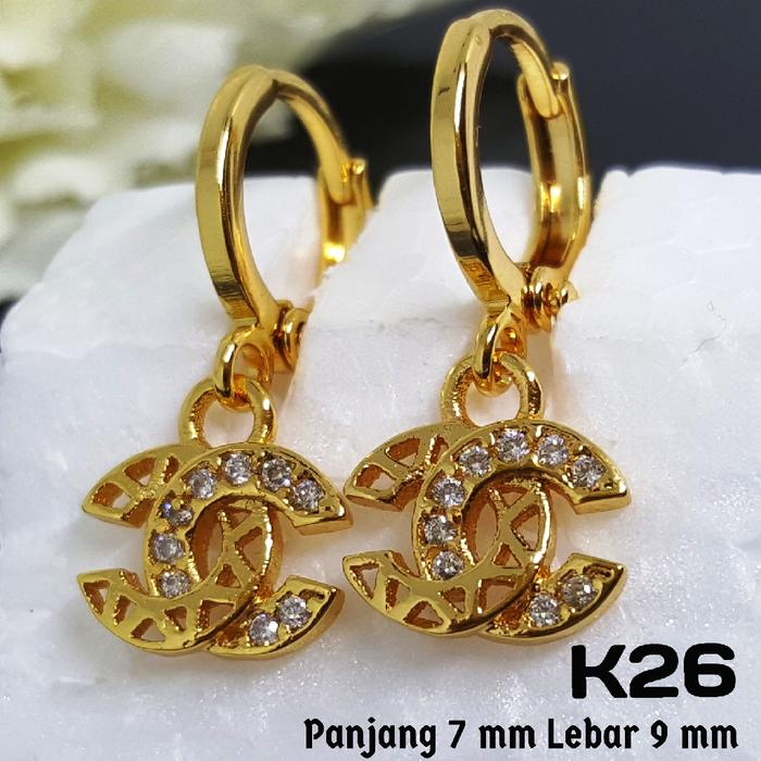 K26 Anting Anak Chanel Mewah (Set Perhiasan Imitasi Xuping Lapis Emas)