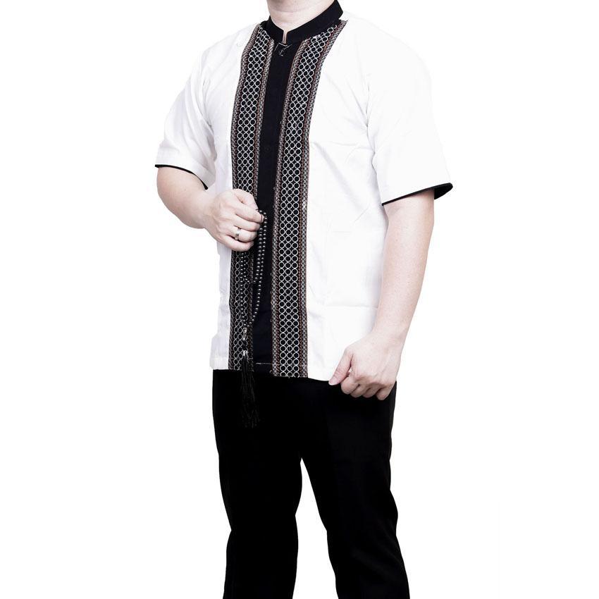 Ormano Baju Koko Muslim Batik Bordir Lengan Pendek Lebaran Hari Raya Pengajian ZO17 KK97 Kemeja Fashion Pria Corak Masa Kini Modern Size L - Putih