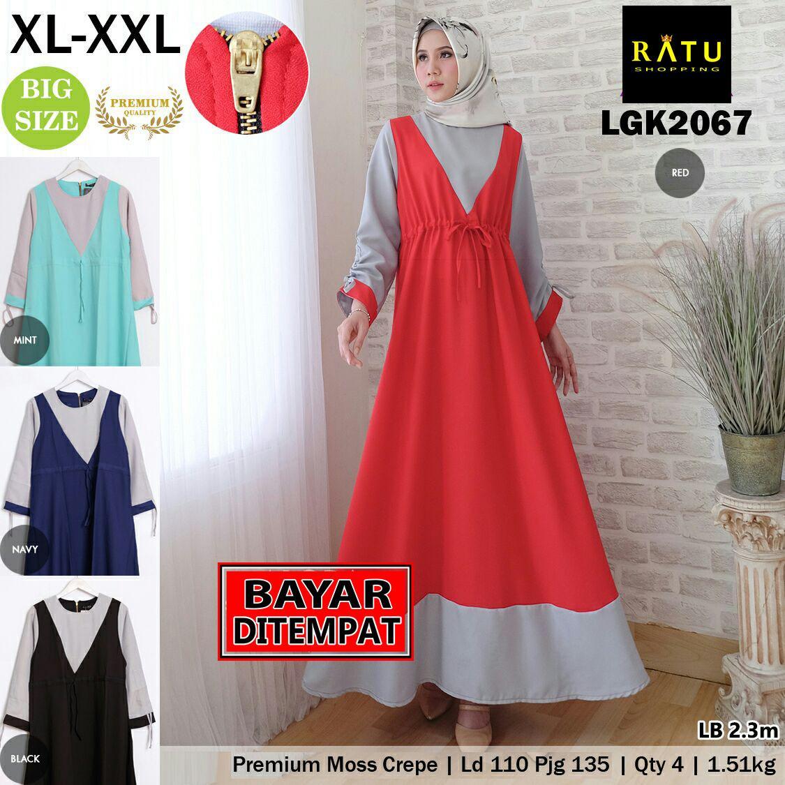 [ RATU SHOPPING ] gamis jumbo xl xxl promo ramadhan baju muslim lebaran jumbo size big size lgk2067