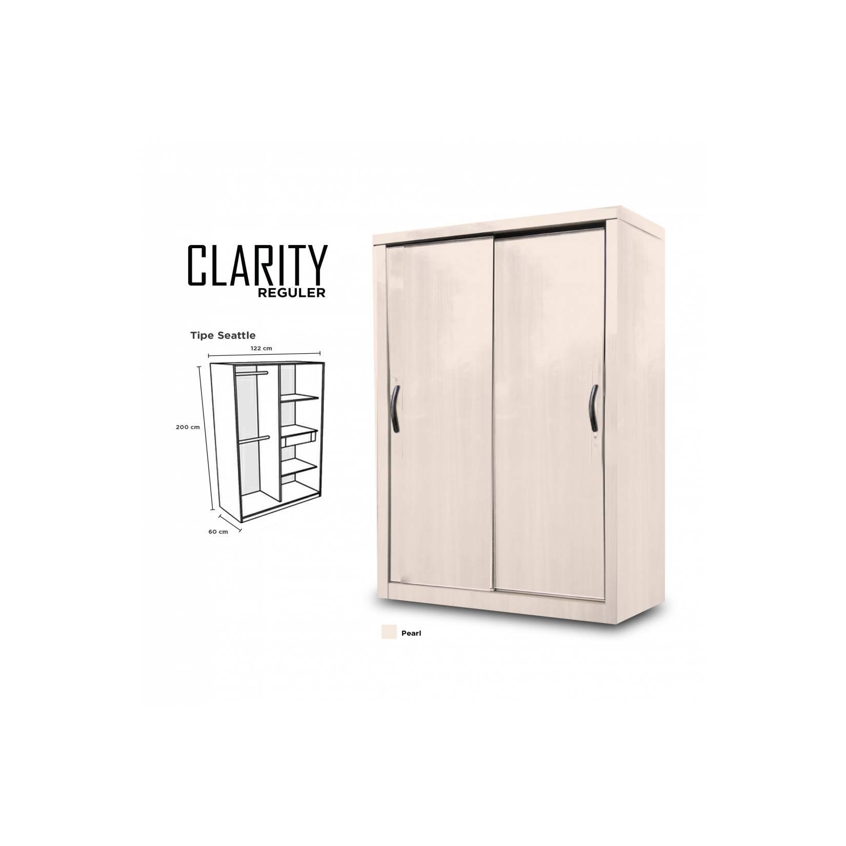 Lemari Pakaian 2 Pintu Minimalis Clarity Door Sliding HPL Putih Pearl