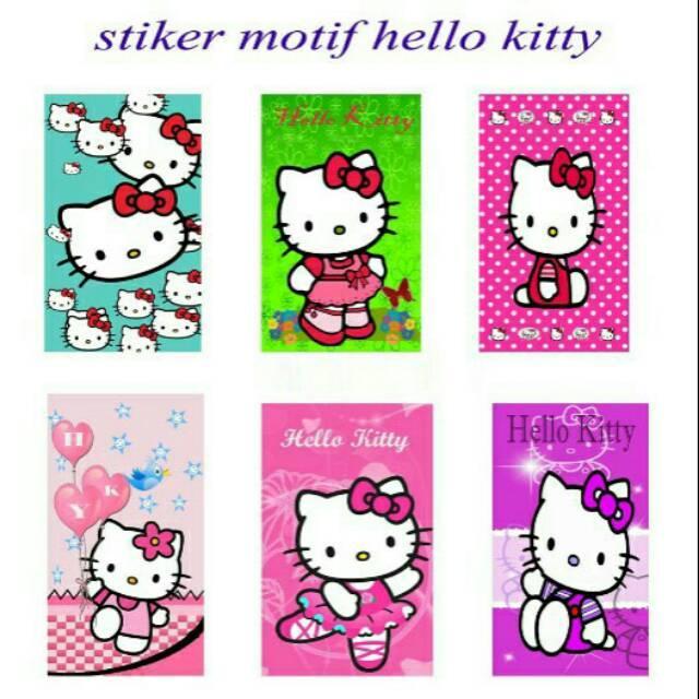 Stiker kulkas 1 pintu motif hello kitty baru