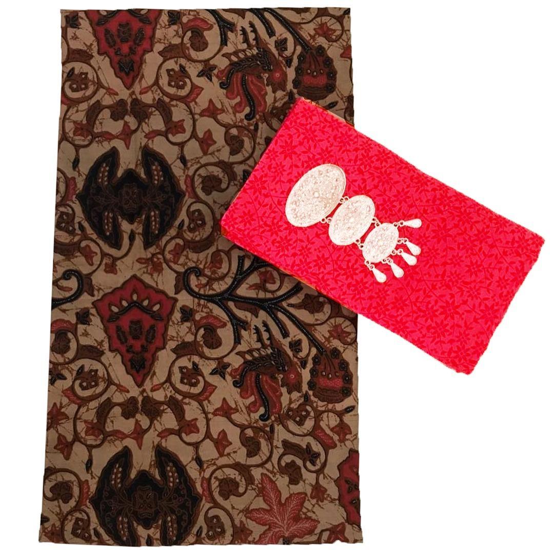 Kain Batik halus dan Kain Embos (Satu Set), Bahan Batik untuk Kemeja, Blus, Kebaya dsb. (KBKE001-22A) Batik Alhadi