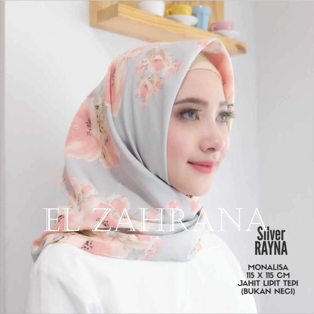 El Zahrana Hijab Square - Kerudung Segi Empat - Jilbab Motif Premium Monalisa