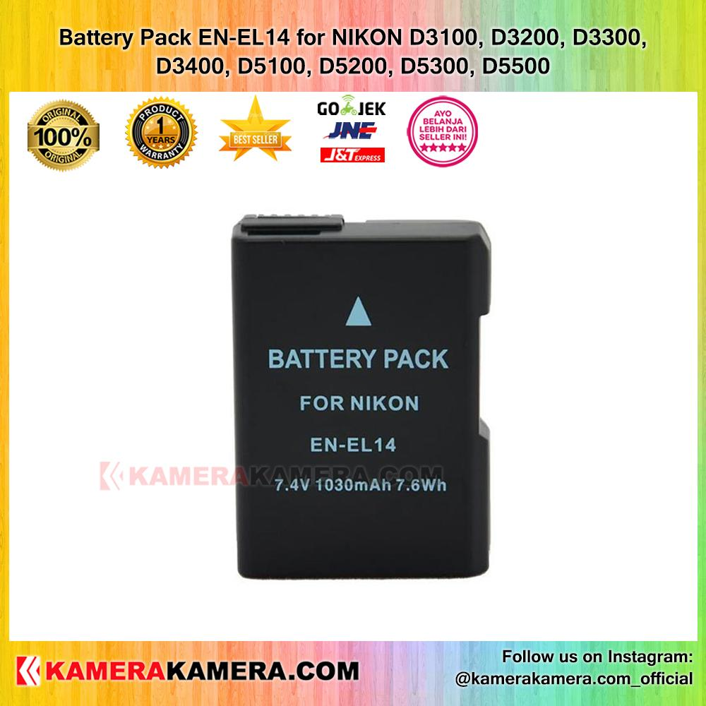 Battery Pack EN-EL14 for NIKON D3100, D3200, D3300, D3400, D5100, D5200, D5300, D5500