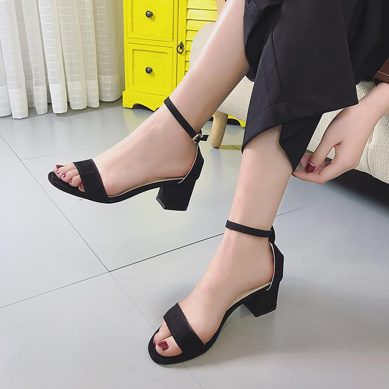3349edaf2b0 2019 Summer New Style Korean Style Block Heel A-line Belted Open Toe High-