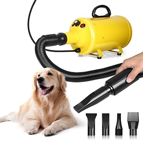 Amzdeal Dog Hair Dryer Cat Grooming Dryer Speed Adjustable Heat for Pet Fur  Hair Blower Heater Blaster with 4 Different Nozzles 2cd56720f6