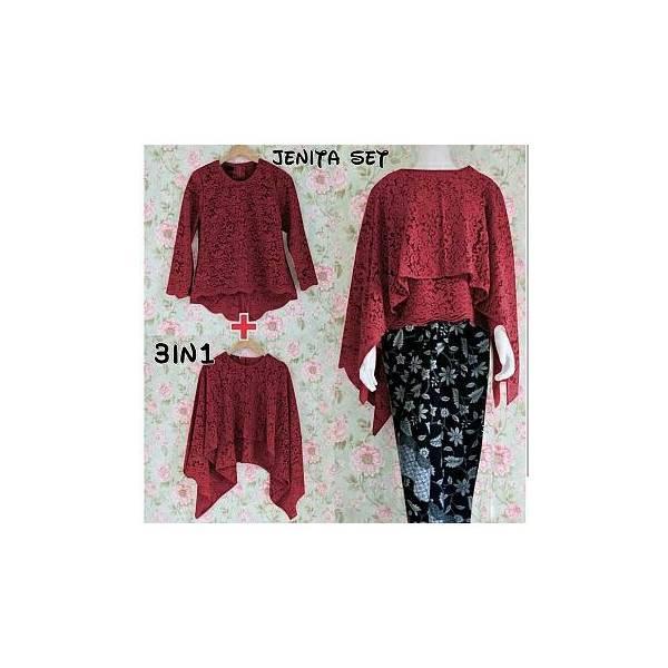 Baju Kebaya Batik Cantik/Pakaian Batik Modern Set Jenita Orchid Marun